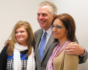 Gov. Terry McAuliffe with two local veterans