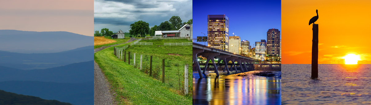 scenery from around Virginia shown in four panels. from left to right, the mountains, the piedmont, Richmond, the eastern shore.