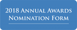 blue button with white lettering spelling out 2018 Annual Awards Nomination Form