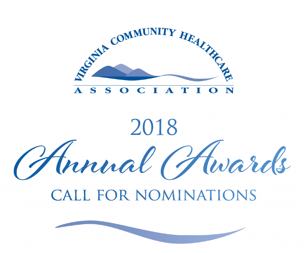 Blue lettering reading Virginia Community Healthcare Association with blue mountains design. Blue Lettering under it reading 2018 Annual Awards Call for Nominations