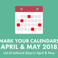 """Teal background with white and red calendar icon with the words """"Mark your calendars April & May 2018 List of nationals days in April & May"""