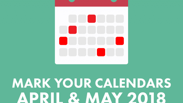 "Teal background with white and red calendar icon with the words ""Mark your calendars April & May 2018 List of nationals days in April & May"