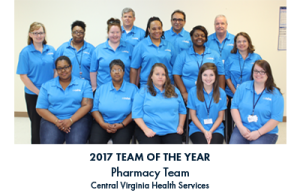 Group of people with blue lettering under the image reading 2017 Team of the Year Pharmacy Team Central Virginia Health Services