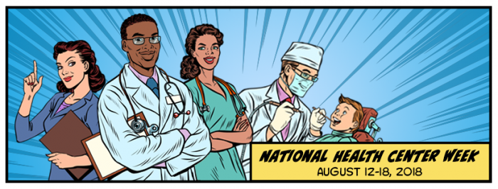 Blue background with illustrations of a doctor, nurse, dentist, and office worker with the wording National Health Center Week August 12 - 18