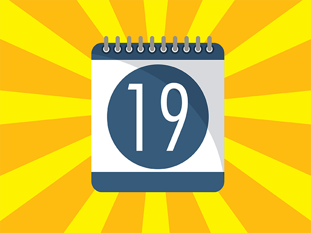 Yellow background with blue calendar icon