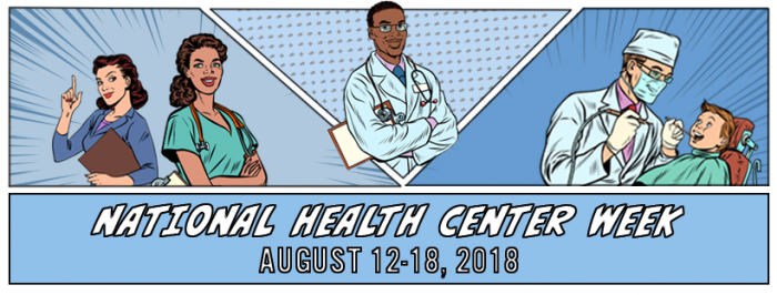 national health center week illustration comic book style theme