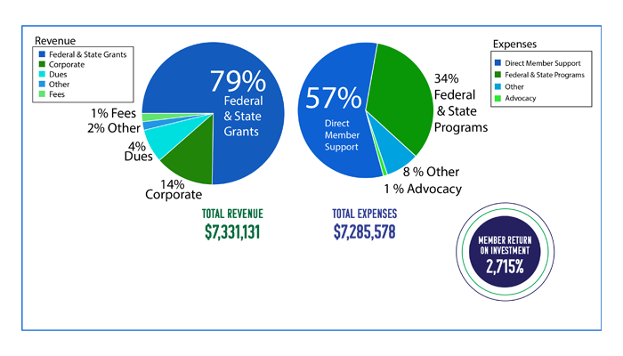 an infographic displaying total revenue and expense and member return on investment