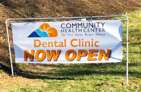 sign saying Community Health Center of the New River Valley Dental Clinic Now Open