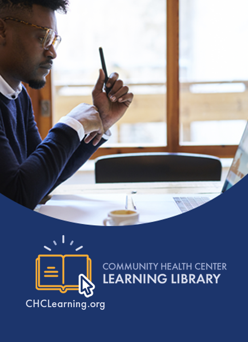 learning library announcement showing man in front of computer